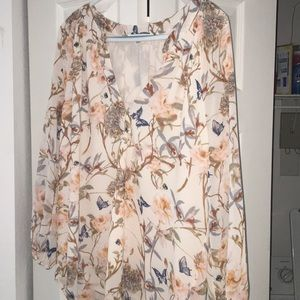 Fall floral large top rose + olive long sleeve